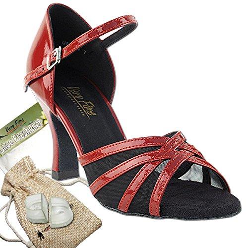 Scarpe Donna Ballo Tango Scarpe Salsa Di Nozze 6027eb Confortevole-finissima 2.5 [fascio Di 5] Vernice Rossa & Maglia Nera