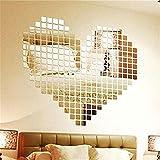 LQZ(TM) 100pcs Silver Acrylic 3D Mural Wall Sticker Mosaic Mirror Effect Sofa Room Home Decor DIY