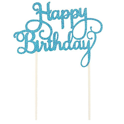 Merssavo Birthday Cake Topper Happy Candle Party Supplies Decoration Ornament Blue