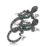 CHUYUN Double 2 Two Lizard Brooches For Women