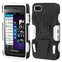 MYBAT ABB10HPCSAAS803NP Advanced Rugged Armor Hybrid Combo Case with Kickstand for BlackBerry Z10, Retail Packaging, Black/White