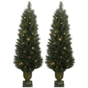 Set of 2 Light Up Prelit Artificial Pine Indoor/Outdoor Pathway ...