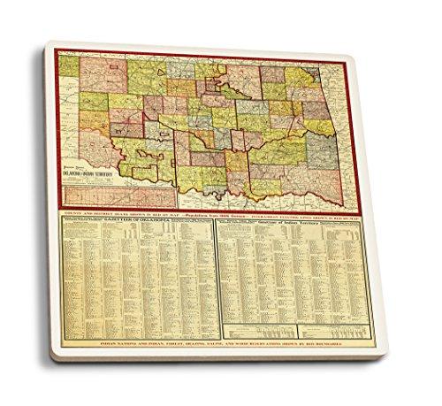 Lantern Press Oklahoma - (1905) - Panoramic Map (Set of 4 Ceramic Coasters - Cork-Backed, Absorbent)