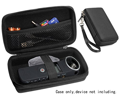 Professional Portable Recorder Case for ZOOM H1, ZH1 Music Recorder with mesh pocket cable, outdoor Microphone Windscreen Muff, Elastic strap, Strong and light weight hard case