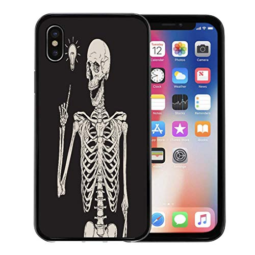 Emvency Phone Case for Apple iPhone Xs case,Halloween Human Skeleton Has Idea Over Zombie Skull Vintage Etching for iPhone X Case,Rubber Border Protective Case,Black