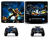 Cosines PS4 Slim Stickers Vinyl Decal Protective Console Skins Cover for Sony Playstation 4 Slim and 2 Controllers Autobot Bumblebee Robot Car