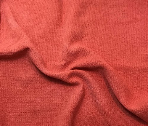 Blood Orange - Hand Dyed Squares Weave Silk Noil (Hand Dyed Silk Fabric)