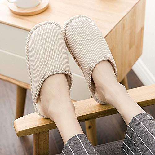 House Women Slippers Bottom On T Warm Shoes Khaki Cotton JULY Soft Bedroom for Home Indoor Striped Slipper Slip waqSqp