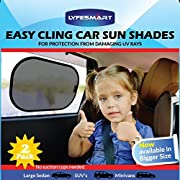 Car Window Shade - Large (2 Pack) by LYFESMART for SUVs and Minivans| Premium Baby Car Sun Shade | Easy Cling Kids Car Sunshade | For infant in car seat rear facing blocks UV Rays (SUV's & Minivans)