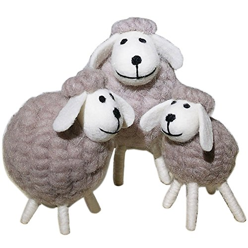 TINTON LIFE Handicrafts Sheep with Baby Lamb Wool Felt Sheep Family Toys Decorative Ornaments Plush Doll Desktop Ground (White Face Set)