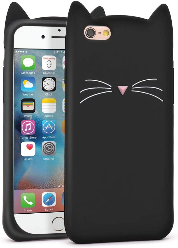 YONOCOSTA Cute iPhone 6 Case, iPhone 6S Case, Funny Black Whisker Cat Ears Kitty Fashion 3D Cartoon Animals Soft Silicone Shockproof Slim Fit Case ...