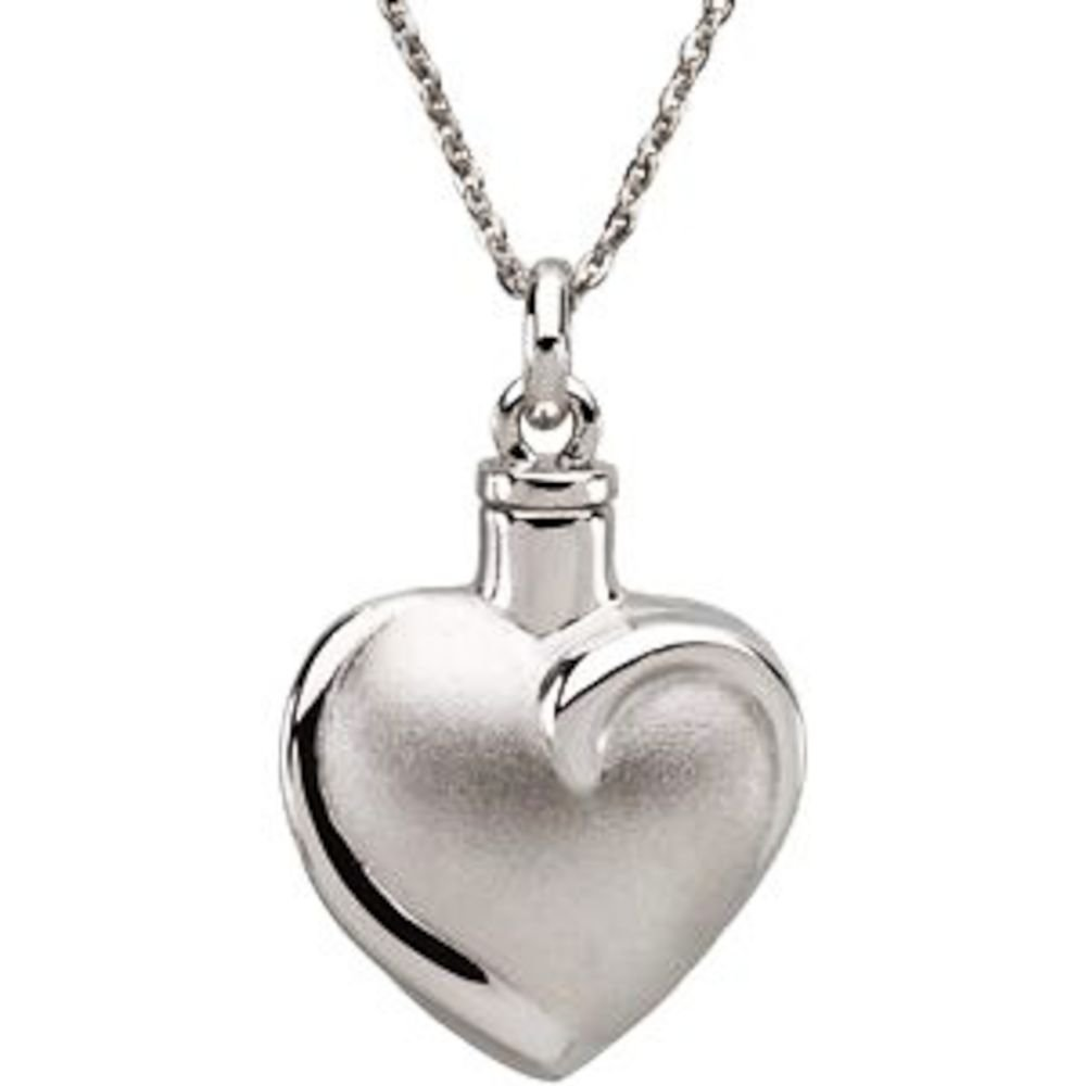 Sterling Silver Heart Ash Holder 18'' Necklace - Inspirational Blessings