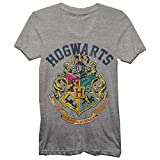 Harry Potter Juniors Hogwarts Crest Heather T-Shirt Grey (Large)