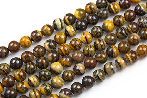 jennysun2010 Natural Iron Zebra Jasper Gemstone 8mm Smooth Round Loose 50pcs Beads 1 Strand for Bracelet Necklace Earrings Jewelry Making Crafts Design Healing