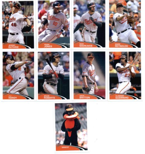 (2012 Topps Stickers Baltimore Orioles Team Set- 9 Stickers -Jones,Mascot)