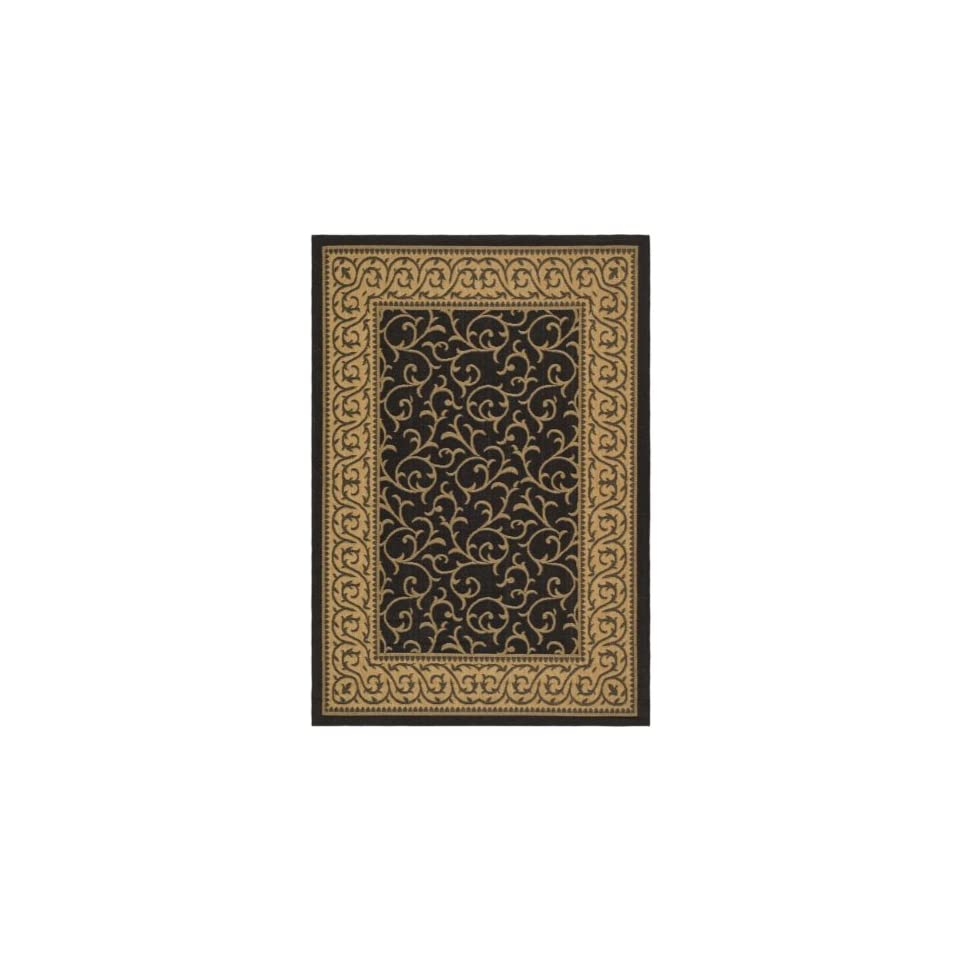 Safavieh Courtyard Collection CY6014 46 Black and Natural Indoor/ Outdoor Area Rug (67 x 96)