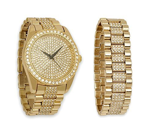 Iced Out Gold Watch with Diamond Face & Matching Bling Bling-ed Out Bracelet Gift Set