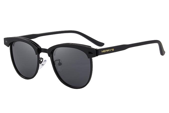 b71ad85d750 MERRY S Semi Rimless Polarized Sunglasses Women Men Retro Brand Sun Glasses  S8116 (Black