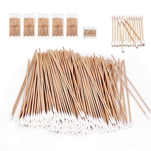 500 Pcs Long Wooden Cotton Swabs, Cleaning Sterile Single Sticks Ball for Medical Oil Makeup Supplies Glue Applicators, Eye Ears Eyeshadow Brush Remover Tool, Camera Cotton Tips Home Accessories