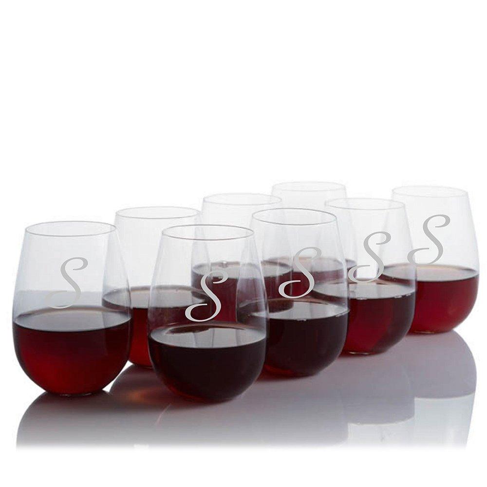 Personalized Ravenscroft Lead-free Crystal 8 pc Stemless Bordeaux / Cabernet / Merlot Glass Set Engraved & Monogrammed - Wedding Gift - Engagement Gift - Home Bar