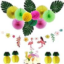 Flamingo Party Decoration Paper Fan Pineapple Decor + Artificial Palm Leaves + Pink Flamingo Cake Topper for Luau Hawaiian Summer Party Baby Shower Wedding Birthday Party