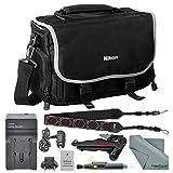Nikon Compact Digitial Slr Accessories Bag + EN EL 14A Replacement Battery for D3100, D3200, D3300, D3400,D5300, D5500, D5600 and COOLPIX P7000, P7100, P7700, P7800 + Deluxe Accessory Bundle