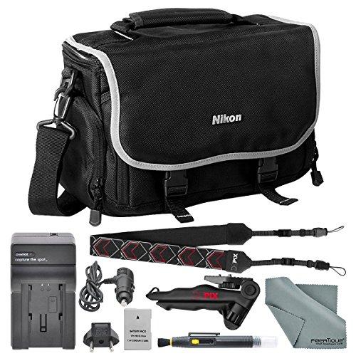 (Nikon Compact Digitial Slr Accessories Bag + EN EL 14A Replacement Battery for D3100, D3200, D3300, D3400,D5300, D5500, D5600 and COOLPIX P7000, P7100, P7700, P7800 + Deluxe Accessory Bundle)