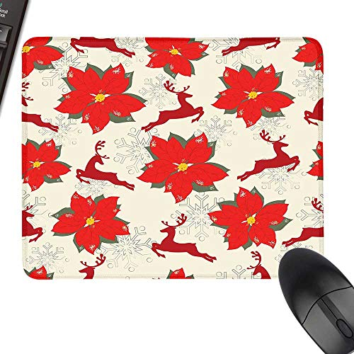 (Christmas Anti-Slip Mouse Mat Vibrant Poinsettia Flowers with Galloping Reindeers and Snowflake Figures Keyboard Mouse Pad 11.8