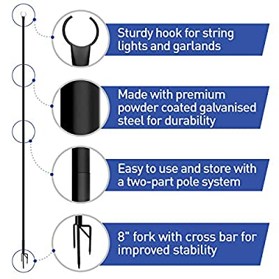 Outdoor String Lights Poles (2 Pack 8ft) - Light Your Patio or Garden with LED Or Solar Hanging Bulbs - Strong Waterproof Steel Powder Coated Poles That Stand Tall for Your House Café Or Wedding