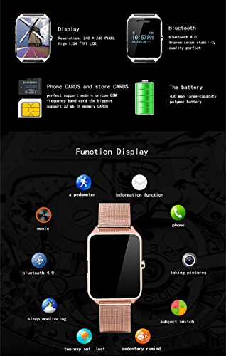 Smartwatch, Collasaro Sweatproof Smart Watch Phone with Camera and SIM Card Slot, Smart Watch for Android Samsung IOS iPhone LG Sony HTC Smartphones (Gold Metal)