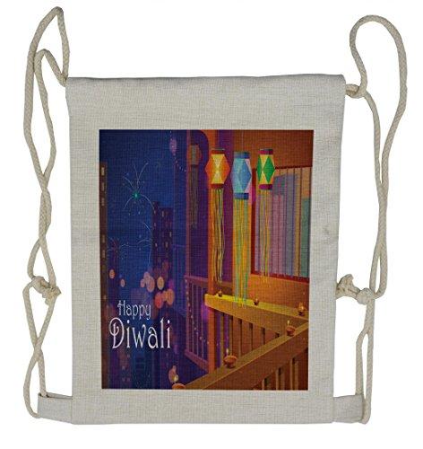Lunarable Diwali Drawstring Backpack, Cartoon Style Festive Town, Sackpack Bag by Lunarable