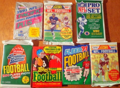 Fun Collector (Over 100 Vintage NFL Football Card Collection in Old Sealed Wax Packs - Perfect for New Collectors. Look for Rookie Cards, Hall of Famers, Special Inserts, and More!! (Packs ARE)