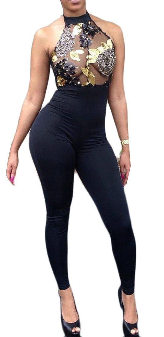 Big Tang Womens Bodycon Jumpsuit Club Mesh Sequin Sleeveless Romper