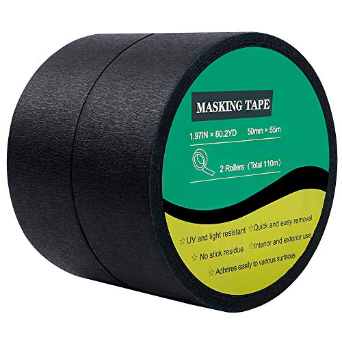 Cocoboo 2 Roll Black Crepe Paper Masking Tape Painters Tape, 2 inches x 60yds for Decorative Marking