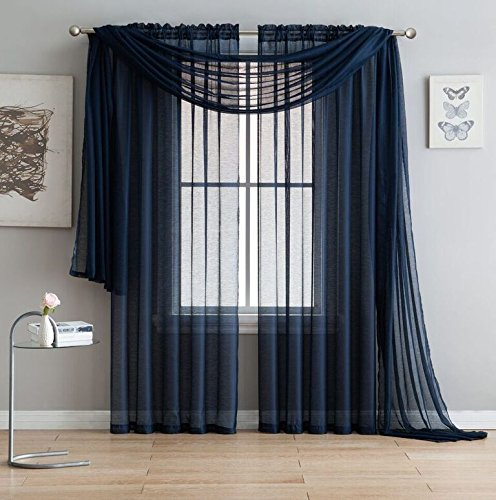 Navy Blue Materials - Jane - Rod Pocket Semi-Sheer Curtains - 2 Pieces - Total size 108