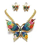 SparkleDust Jewelry Sets Extra Large Multi Color Butterfly Flowers Statement Pendant Necklace Earrings Set