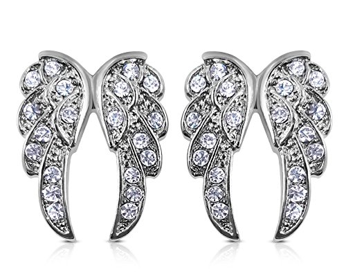 Small Crystal Guardian Angel Wings Silver Tone Stud Earrings Fashion Jewelry Gift (Clear)