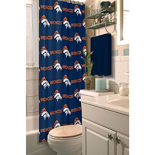1 Piece Navy Blue Orange NFL Denver Broncos Football Sport Themed Shower Curtain, Polyester Detailed Sports Pattern, Modern Elegant Design, Official Colorful Team Logo Printed, All Seasons, True (Denver Broncos Shower Curtain)