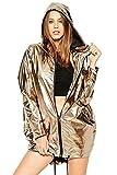 Hoodies Outerwear Long Sleeve Sweatshirt Gold Metallic Zipper up Punk Raincoat Showerproof Outerwear Jacket (A010-Gold, L)
