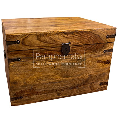 Jali solid sheesham wood trunk box (storage chest) - 60cm wide x 46cm deep x 40cm high Paraphernalia