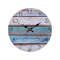 Redgiants 12 Vintage Rustic Wooden Wall Clock, Shabby Beach, Weathered Beachy Boards Design,Ocean Colors Old Paint Retro Home Kitchen Room Decor Home Decorations