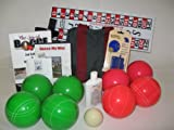 Everything Bocce Package - 110mm Epco Green and Light Red Balls, Score Tower,...