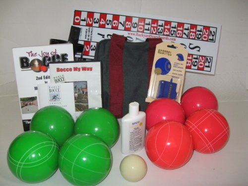 Everything Bocce Package - 110mm Epco Green and Light Red Balls, Score Tower,... by Epco