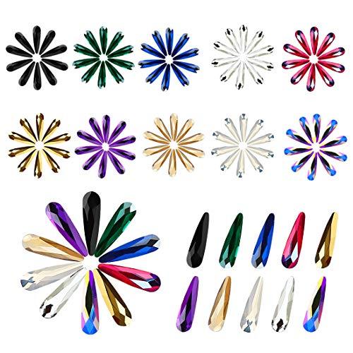 100pcs Ultra Sparkle&Shine 10 Colors AB Crystal Bead Teardrop/Raindrop Shapes Gold FlatBack Glass Rhinestones Diamonds Gems Pearls for 3D Nail Art Beauty Design Decoration Makeup DIY Crafts