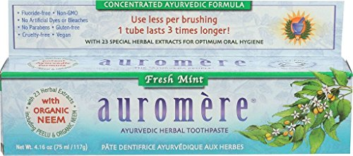 Ayurvedic Herbal Toothpaste Fresh Mint by Auromere - Fluoride-Free, Natural, with Neem and Vegan - 4.16 Oz (5 Pack)