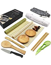 Sushi Making Kit, All In One Sushi Bazooka Maker with Bamboo Mats, Bamboo Chopsticks, Paddle, Spreader, Sushi Knife, Chopsticks Holder, Cotton Bag, Avocado Slicer, Bamboo Sushi Mat,Great for Cooking Beginners, Chefs, Gifts, Kids and Party