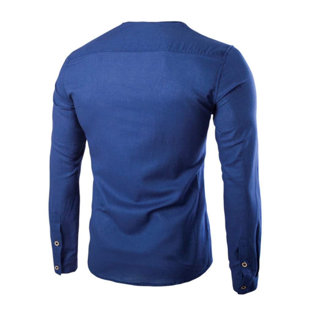 iNoDoZ Men Long Sleeve Slim Fit Cotton Shirt Needle Autumn Casual Round Top Blouse