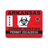 Red Arkansas Zombie Hunting Permit Sticker Die Cut Decal Self Adhesive Vinyl FA Vinyl
