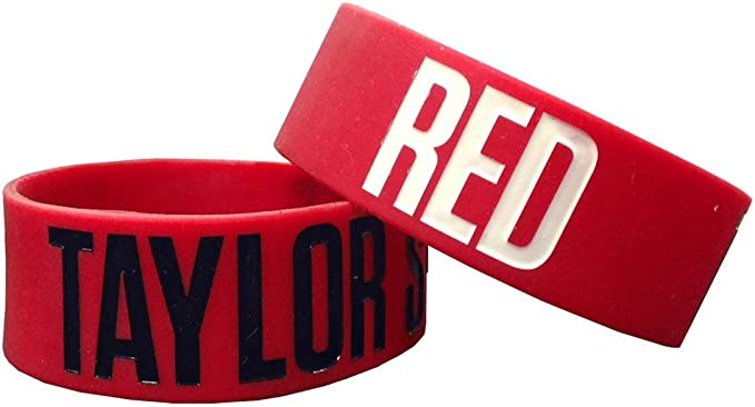 Amazon Com Taylor Swift One Inch Wristband Red Bracelet Sports Wristbands Clothing