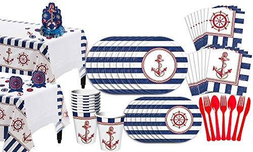 (Party City Striped Nautical Basic Party Kit for 16 Guests, 153 Pieces, Includes Plate, Napkins, Cups, and a)